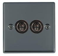 Hamilton Hartland Black Nickel 2G Toggle Light Switch 78T22