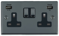 Hamilton Hartland Black Nickel Double USB Socket 78SS2USBBK-B