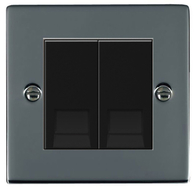 Hamilton Hartland Black Nickel Module Double Master Telephone Socket 78EURO2BTM