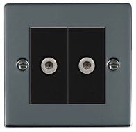 Hamilton Hartland Black Nickel Module Double Satellite Socket 78EURO2SAT