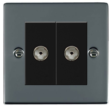 Hamilton Hartland Black Nickel Module Double TV Socket 78EURO2TV