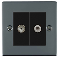 Hamilton Hartland Black Nickel Module TV & Satellite Socket 78EURO2TVSAT