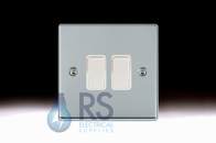 Hamilton Hartland Bright Chrome R22 Light Switch 2G 77R22