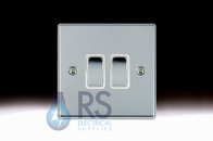 Hamilton Hartland Bright Chrome R22 Light Switch 2G Colour Coded Rocker 77R22BC