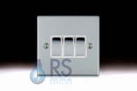 Hamilton Hartland Bright Chrome R23 Light Switch 3G Colour Coded Rocker 77R23BC