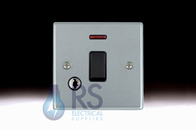 Hamilton Hartland Satin Chrome 20A DP Switch Neon & Flex Outlet 76DPNC