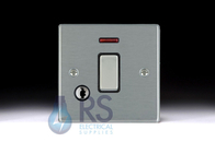 Hamilton Hartland Satin Chrome 20A DP Switch Neon Flex Outlet Colour Coded Rocker 76DPNCSC