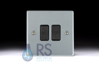 Hamilton Hartland Satin Chrome R22 Light Switch 2G 76R22