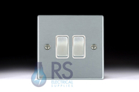 Hamilton Hartland Satin Chrome R22 Light Switch 2G Colour Coded Rocker 76R22SC
