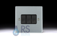 Hamilton Hartland Satin Chrome R23 Light Switch 3G 76R23