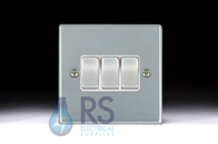Hamilton Hartland Satin Chrome R23 Light Switch 3G Colour Coded Rocker 76R23SC