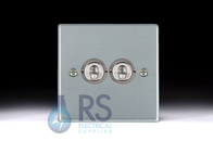 Hamilton Hartland Satin Chrome T22 Toggle Light Switch 2G 76T22