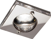 IP65 GU10 50W Bathroom Square Clear Glass Downlight in Chrome CH15GUSCL