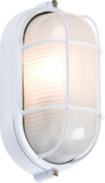 Knightsbridge 230V IP54 60W White Oval Bulkhead with Wire Guard and Glass Diffuser TPOV60W