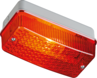Knightsbridge E27PR 230V IP65 100W max E27 Bulkhead with Red Prismatic Diffuser  E27PR