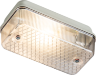 Knightsbridge 230V IP65 100W max (ES) E27 Bulkhead with Clear Prismatic Diffuser and Aluminium Base E27PC