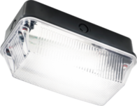 Knightsbridge 230V IP65 60W B22 Bulkhead with Clear Prismatic Diffuser and Black Plastic Base BH22PB