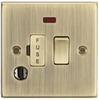 Knightsbridge Antique Brass 13A Switched Fused Spur Unit with Neon & Flex Outlet CS63FAB