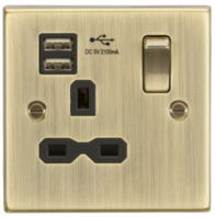 Knightsbridge Antique Brass 1G Switched Socket with Dual USB Charger CS91AB