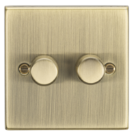Knightsbridge Antique Brass 2G 2W Dimmer CS2182AB