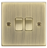 Knightsbridge Antique Brass 2G 2W Switch CS3AB