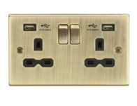 Knightsbridge Antique Brass 2G Switched Socket with Dual USB Charger CS9224AB