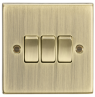 Knightsbridge Antique Brass 3G 2W Switch CS4AB