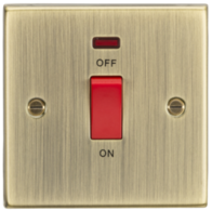 Knightsbridge Antique Brass 45A DP Switch with Neon CS81NAB