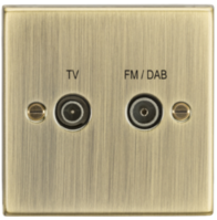 Knightsbridge Antique Brass Diplex TV & FM DAB Outlet CS016AB