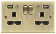 Knightsbridge Antique Brass Double Socket with Dual USB Charger CS92AB