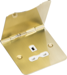 Knightsbridge Brushed Brass 13A 1Gang Unswitched Floor Socket FPR7UBBW image 1