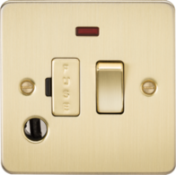 Knightsbridge Brushed Brass Flat Plate 13A Switched Fused Spur Unit with Neon & Flex Outlet FP6300FBB