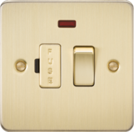 Knightsbridge Brushed Brass Flat Plate 13A Switched Fused Spur Unit with Neon FP6300NBB