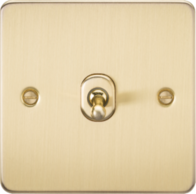 Knightsbridge Brushed Brass Flat Plate 1G Toggle Switch FP1TOGBB