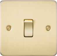 Knightsbridge Brushed Brass Flat Plate 2 Way Switch FP2000BB