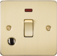 Knightsbridge Brushed Brass Flat Plate 20A 1G DP Switch with Neon & Flex Outlet FP8341FBB