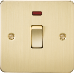 Knightsbridge Brushed Brass Flat Plate 20A 1G DP Switch with Neon FP8341NBB