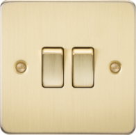 Knightsbridge Brushed Brass Flat Plate 2G 2 Way Switch FP3000BB
