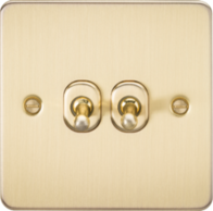 Knightsbridge Brushed Brass Flat Plate 2G Toggle Switch FP2TOGBB