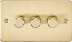 Knightsbridge Brushed Brass Flat Plate 3G Trailing Edge Dimmer FP2183BB
