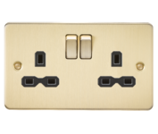 Knightsbridge Brushed Brass Flat Plate Double Socket FPR9000BB