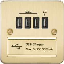 Knightsbridge Brushed Brass Flat Plate Multi USB Charger Outlet FPQUADBB