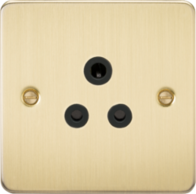 Knightsbridge Brushed Brass Flat Plate Round Pin Socket FP5ABB