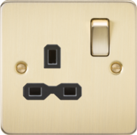 Knightsbridge Brushed Brass Flat Plate Single Socket FPR7000BB