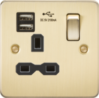 Knightsbridge Brushed Brass Flat Plate Single Socket with Dual USB Charger FPR9901BB
