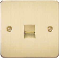 Knightsbridge Brushed Brass Flat Plate Telephone Master Socket FP7300BB image 1