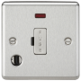 Knightsbridge Brushed Chrome 13A Fused Spur Unit with Neon & Flex Outlet CL6FBC