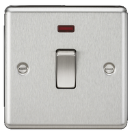 Knightsbridge Brushed Chrome 20A 1G DP Switch with Neon CL834NBC