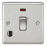 Knightsbridge Brushed Chrome 20A 1G DP Switch with Neon & Flex Outlet CL834FBC