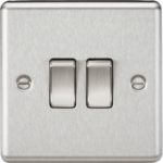 Knightsbridge Brushed Chrome 2G 2W Light Switch CL3BC